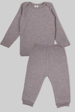 חליפת שינה שרוול ארוך פלנל - אפור מלאנז (1.5 - 2.5 שנים)