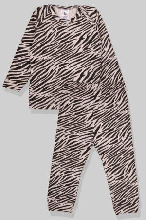 חליפת שינה שרוול ארוך פלנל - זברה (6 חודשים - 2.5 שנים)