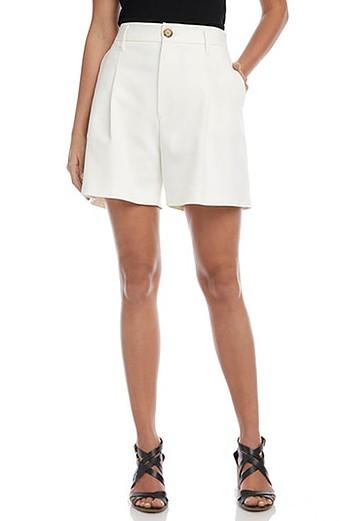 Karen Kane High Waist Pleat Front Shorts   40plusstyle.com