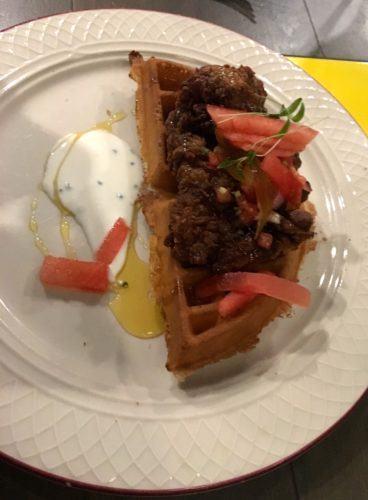 Chicken & waffles at marcus at the southampton princess