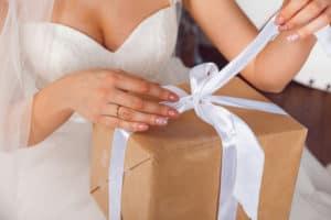 Bride opening wedding gift