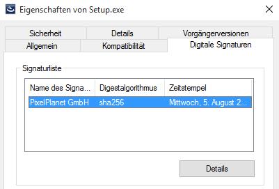 """Screenshot: Registerkarte """"Eigenschaften von Setup.exe"""""""
