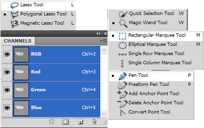 A variety of tools for making selections in a photo