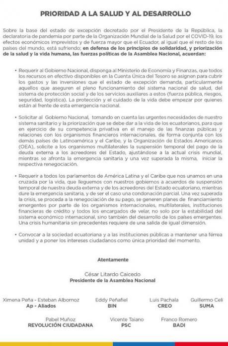 Ecuador parlamento pide suspensión pago de la deuda