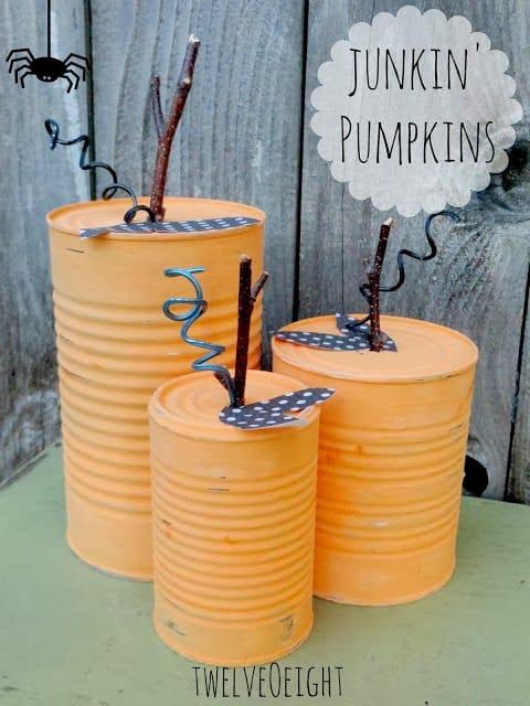 painted tin can pumpkin craft for halloween decor