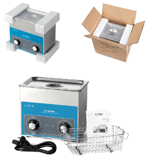 Image shows the packaging and contents of the ultrasonic cleaner.