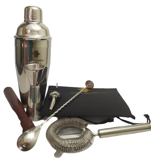 Image shows the included contents of the Mayfair Cocktail Shaker Set.