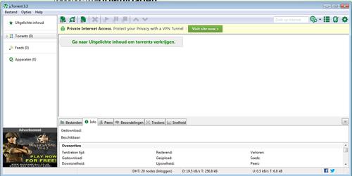 De interface van uTorrent