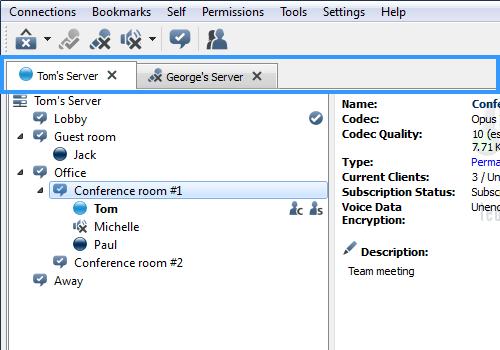 Een schermafbeelding van TeamSpeak.