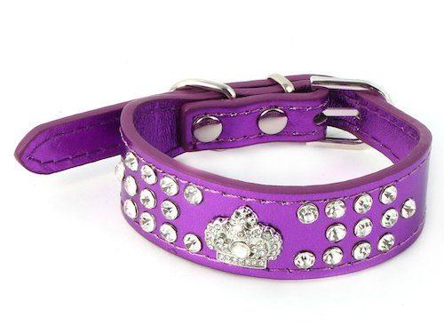 Rhinestone-Crown-Decoration Dog Collar Purple