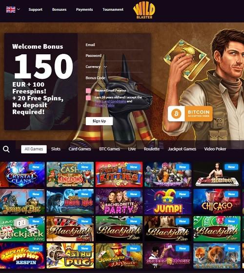 Wild Blaster Casino free spins bonus