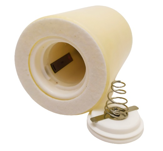 Image shows the underside of the candle and the battery area.
