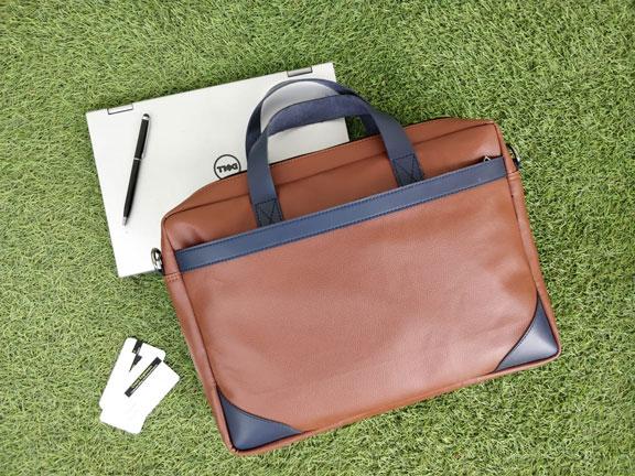 Laptop Bag CE2 - Tan Brown & Navy Blue