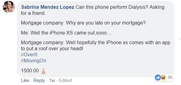 Sabrina Mendez Lopez iPhone comment