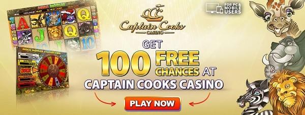 Captain Cooks Casino 100 gratis spins no deposit bonus