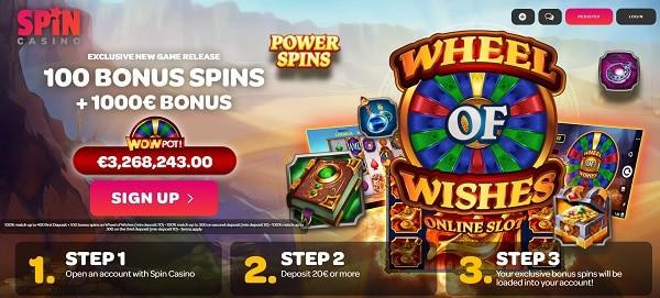 100 Free Spins on progressive jackpot (Wheel of WIshes)