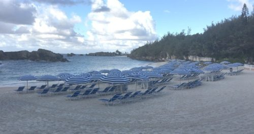 Bermuda resorts often have access to lovely beaches like the fairmont's private cove protected bu off-shore boulders