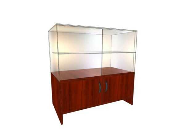 Прилавок стеклянный (полка стекло+ двери верх-низ) 0,5*0,9*0,9м
