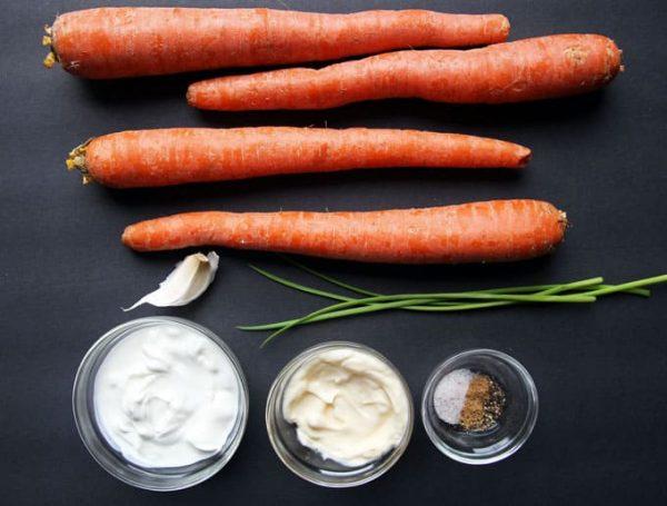 Creamy Shredded Carrot Salad Ingredients