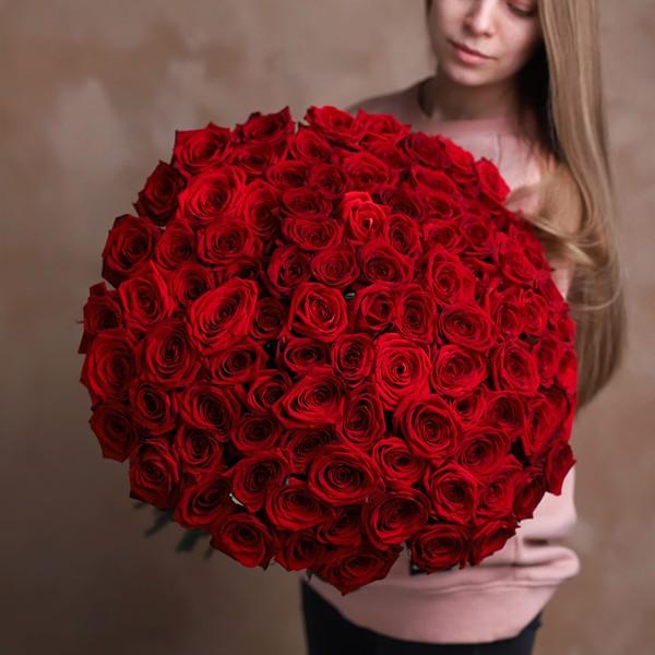 Монобукет из 101 Российской розы №1014 - Фото 1