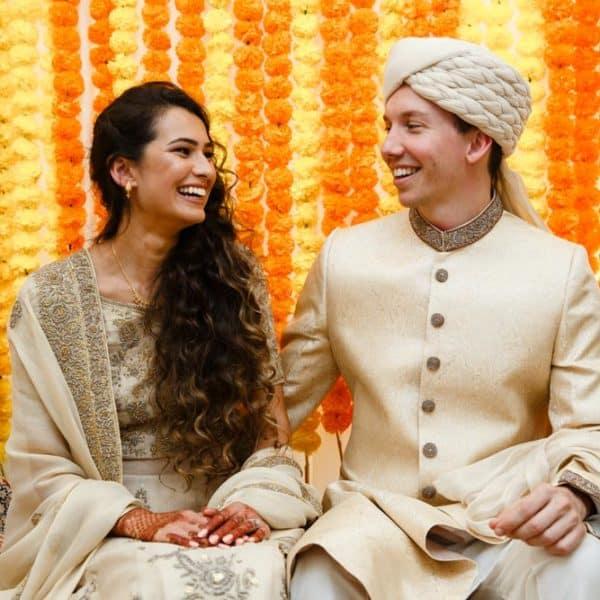 pre-wedding bride and groom at mehndi celebration