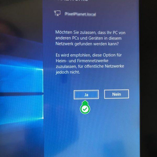 Screenshot der Windows 10 Abfrage: Zulassen, dass PC von anderen PCs im Netzwerk gefunden wird