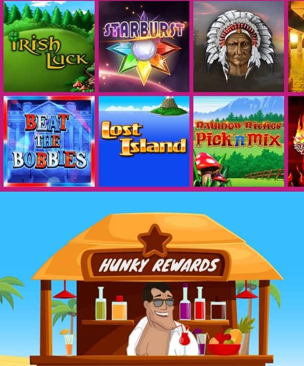 Hunky Bingo Casino Review:£70 bonus + 10 free spions (no wagering)