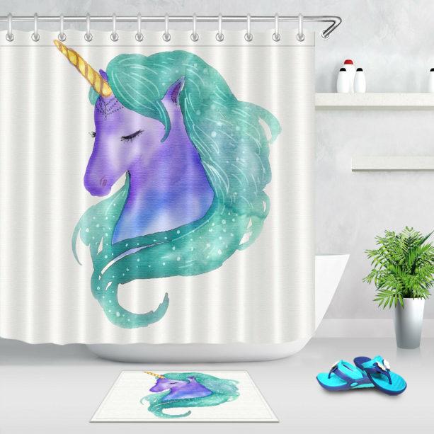green and purple watercolor unicorn shower curtain