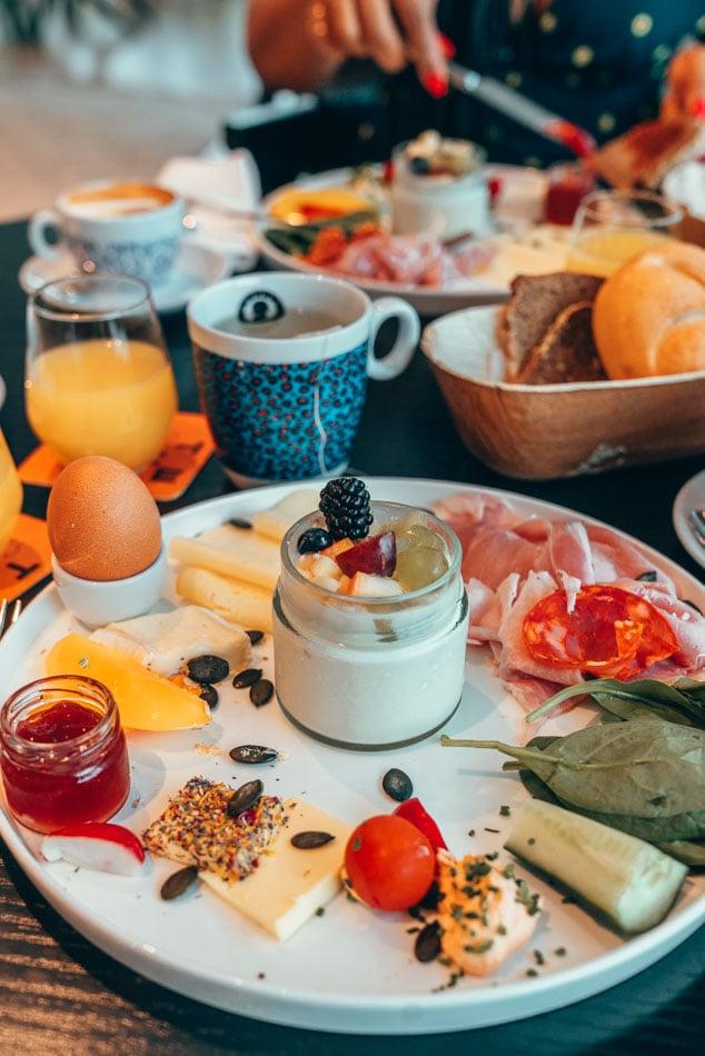 Colorful hotel breakfast at Lendhotel in Graz, Austria.