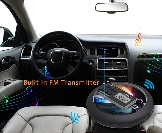 Image shows the inside of a car with a graphic showing the CD player working.