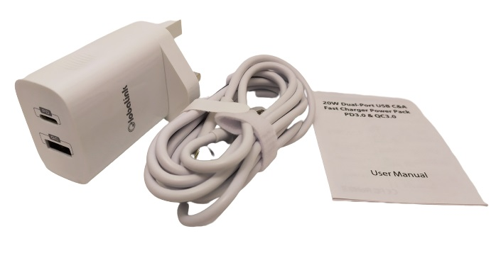 Image shows the included contents of the GlobaLink PD Charger Plug.