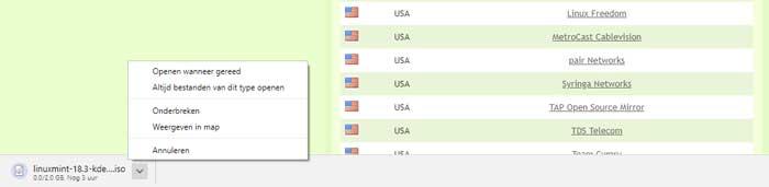 De mogelijkheden die Chrome biedt tijdens en na het downloaden van een bestand.