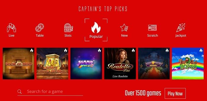 1500+ games and live dealer