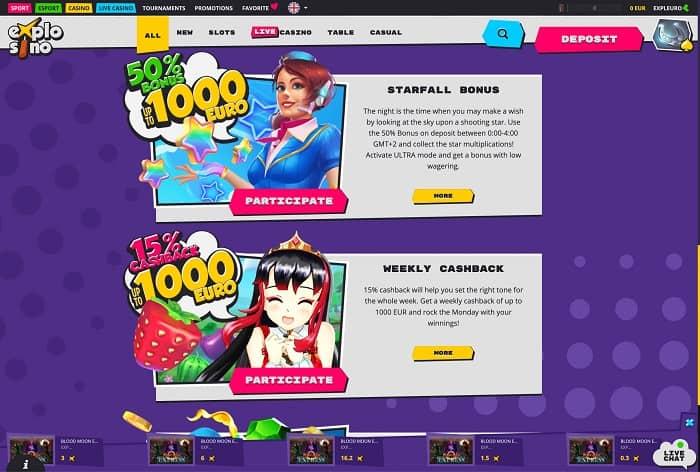 Explosino Casino Free Spins Bonus