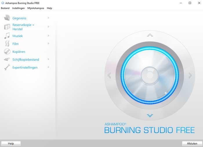 Het startscherm van Ashampoo Burning Studio Free.