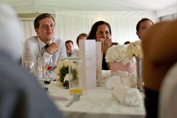 Bridesmaid watching speeches
