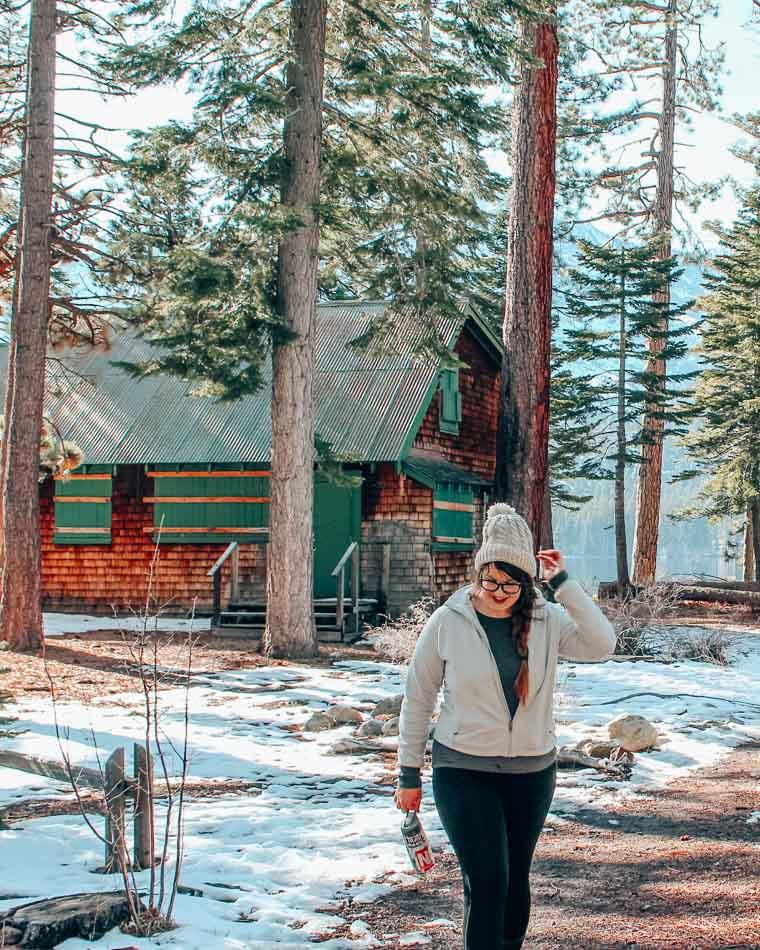 Hiking in Lake Tahoe, California in the winter.