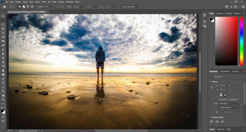 editing a seascape