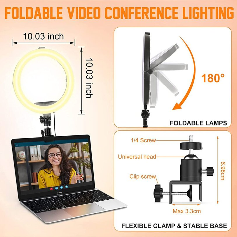 Image shows the universal clamp and foldable design of the ring light.