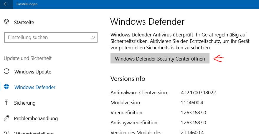 Windows Defender (Windows 10): Ausnahme definieren