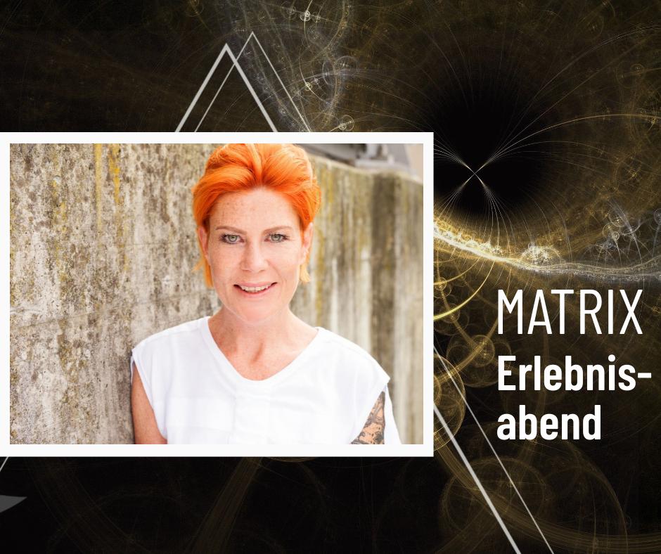 geometzrische Formen in schwarz gold, mit Foto von Eleonore Hoschek und Text Matrix Kennenlernabend
