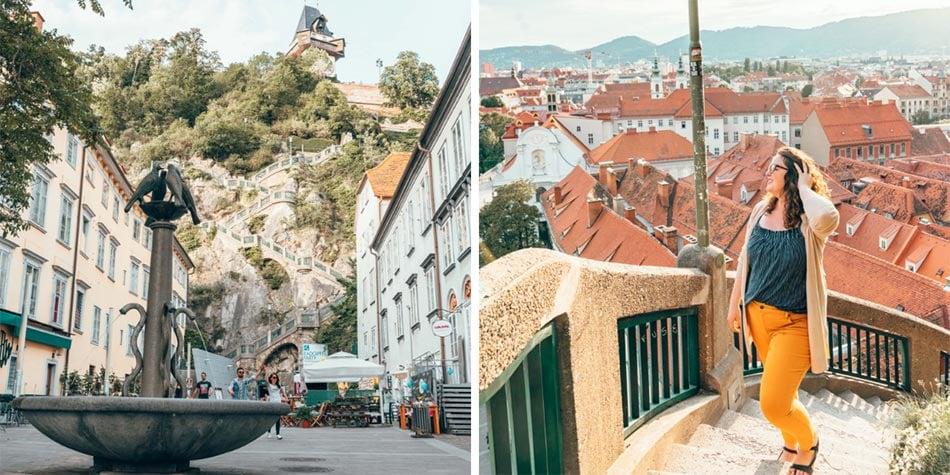 View of Schlossberg in Graz, Austria