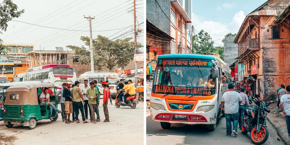 Traffic intersections and transportation in the streets of Nepal
