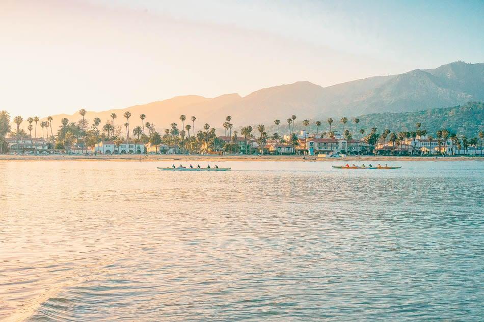 Santa Barbara, California waterfront at sunset