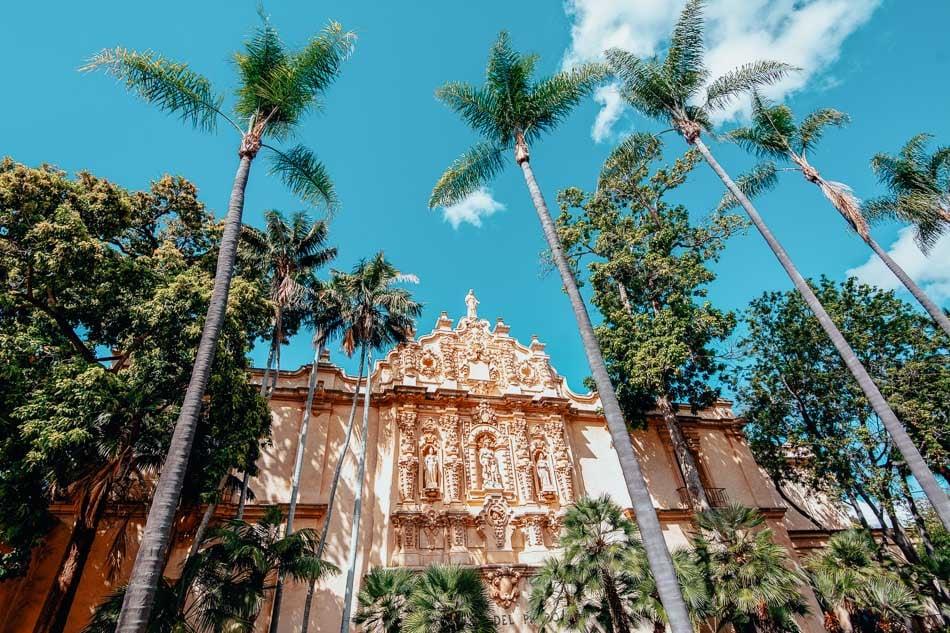 The entrance to Casa Del Prado at Balboa Park in San Diego, CA.