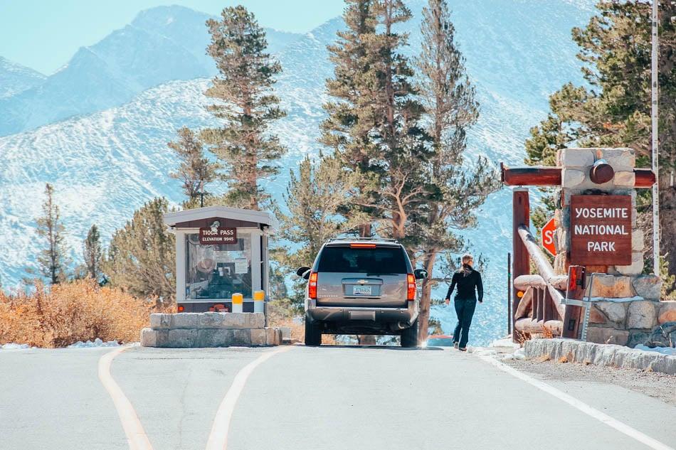 The Tioga Pass entrance station in Yosemite, CA.