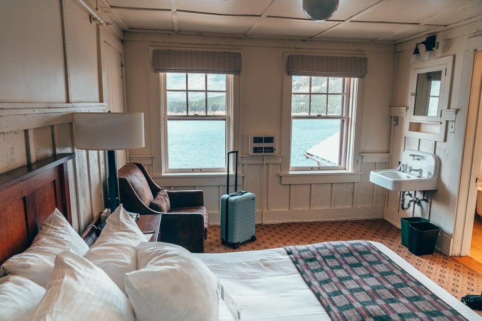 Many Glacier Hotel room inside of Glacier National Park, Montana.