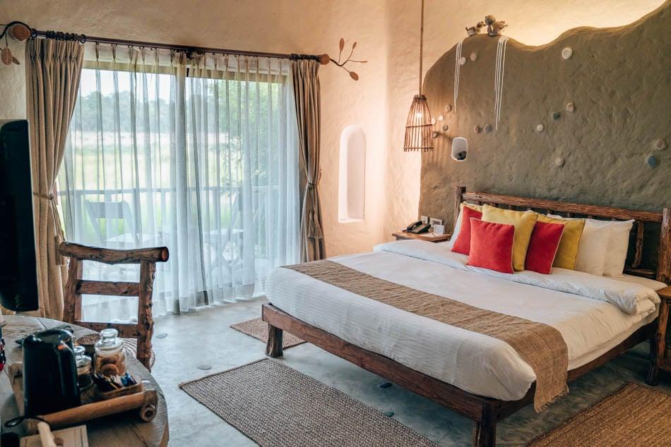 Bungalow room at Barahi Jungle Lodge in Chitwan National Park, Nepal.
