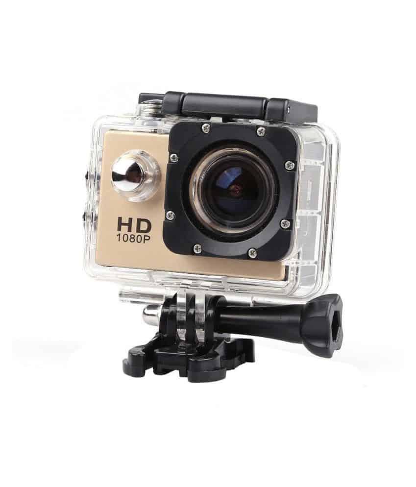 Action Caméra Enregistreur Vidéo HD 1080 P 12MP  Étanche 30 M - Gold + Trepied