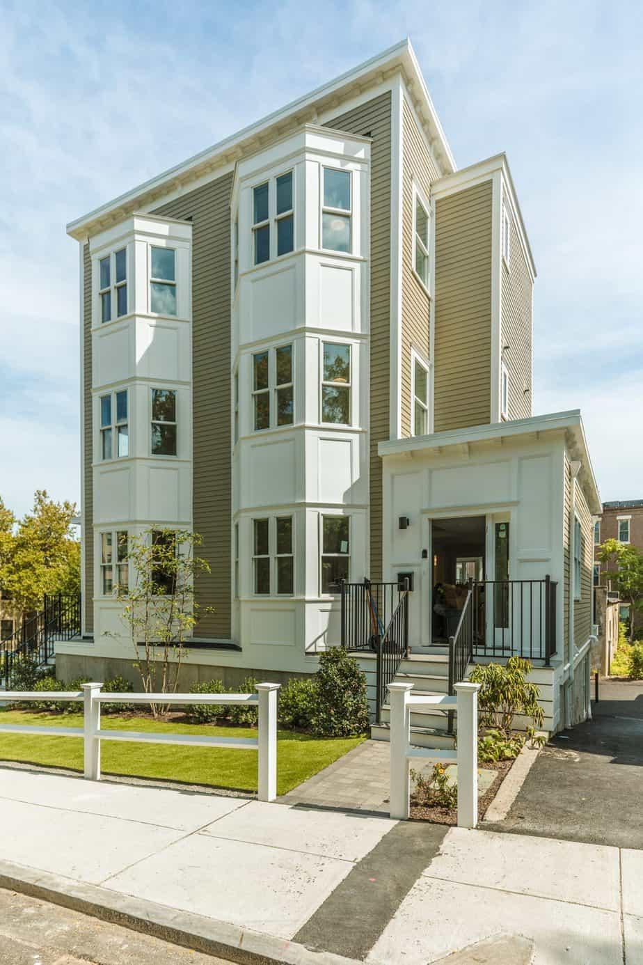 Boston multifamily construction - 33 Highland townhouse exterior